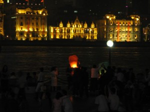 Launching Kongming lanterns off the coast of Pudong.