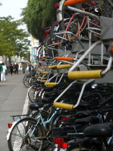 ...but people are definitely out and about! Check out how many bikes are already stored on the racks!