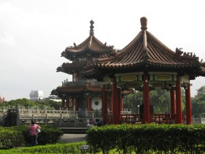 Pavilions in the park.
